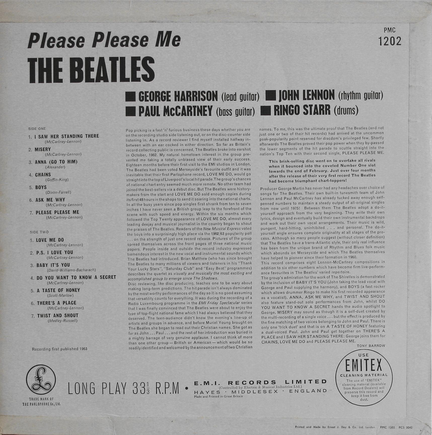 The Beatles Collection 187 Please Please Me Parlophone Pmc