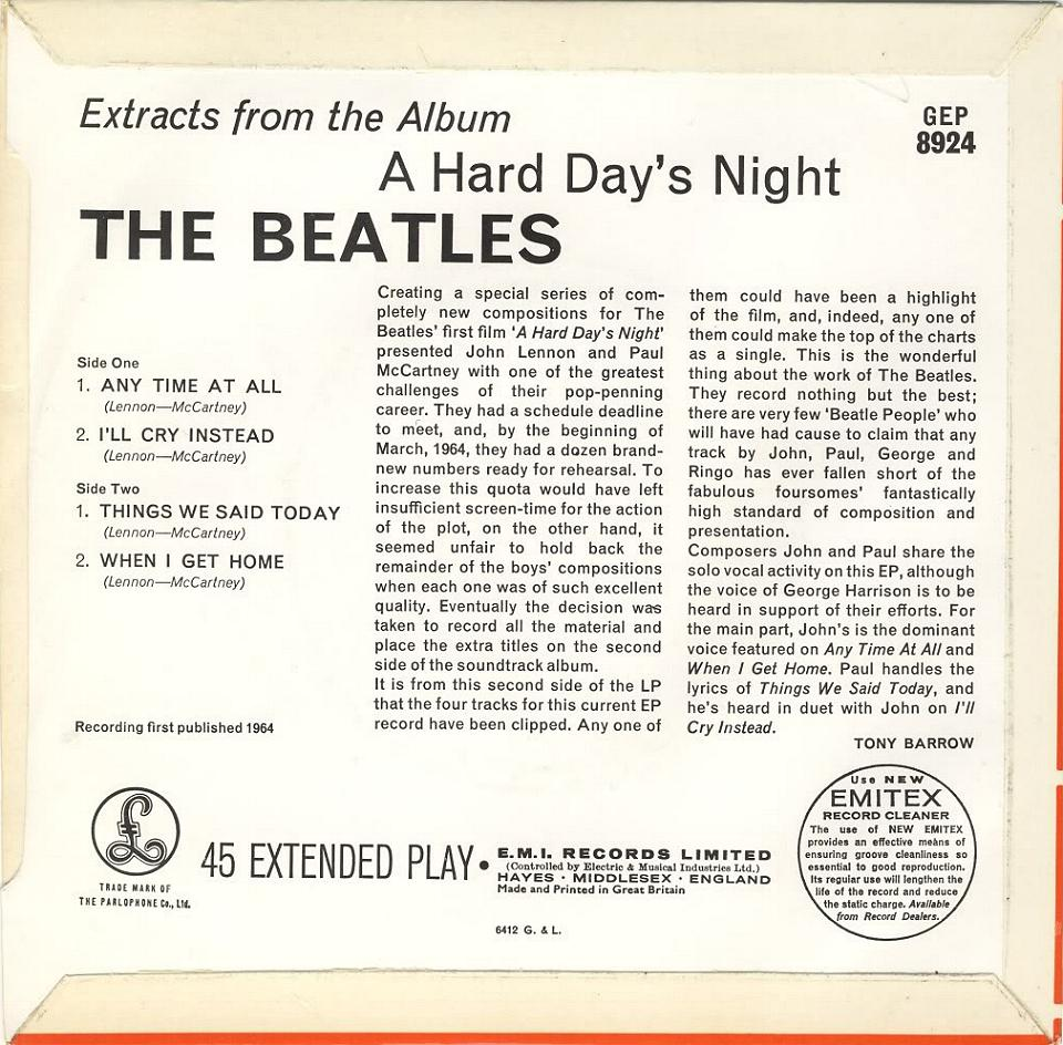 7b2017c1a The Beatles Collection » Search Results » A Hard Day's Night